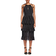 Buy Whistles Imie Amena Print Tiered Dress, White/Black Online at johnlewis.com
