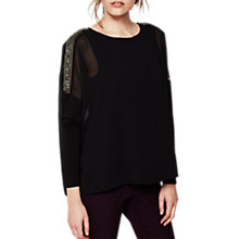 Buy Mint Velvet Sequin Sleeve Batwing Top, Black Online at johnlewis.com