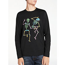 Buy PS by Paul Smith Long Sleeve Dancing Skeletons T-Shirt, Black Online at johnlewis.com