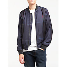 Buy PS by Paul Smith Windowpane Check Wool Bomber Jacket, Navy Online at johnlewis.com