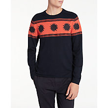 Buy PS Paul Smith Felt Punch Star Crew Neck Jumper, Navy Online at johnlewis.com