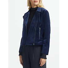 Buy Great Plains Wren Velvet Biker Jacket, Classic Navy Online at johnlewis.com