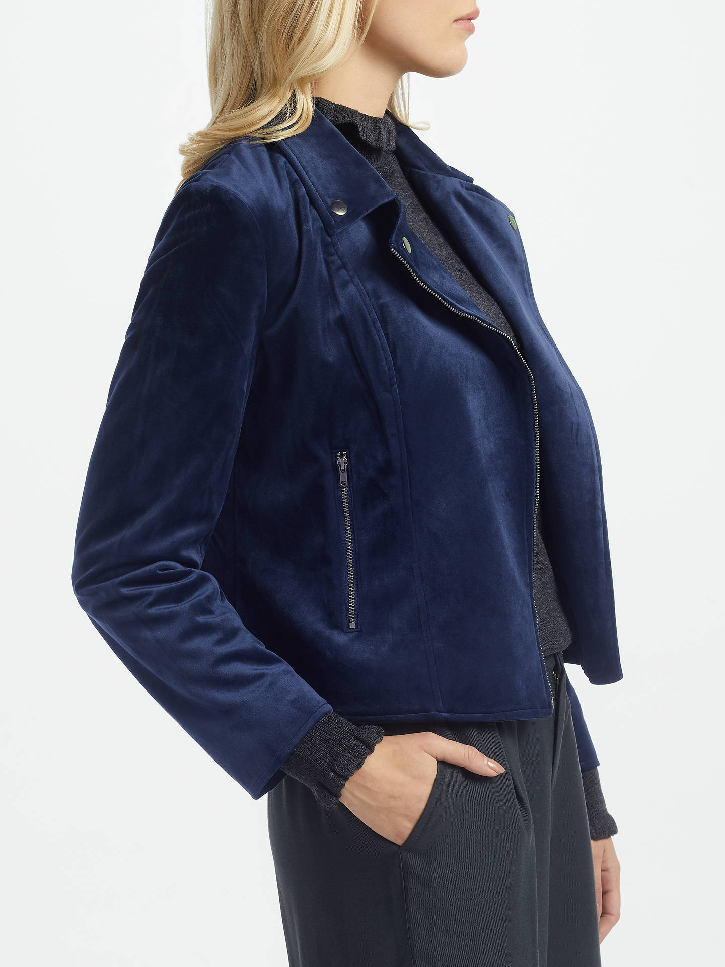 095e95bb7 Great Plains Wren Velvet Biker Jacket, Classic Navy at John Lewis ...