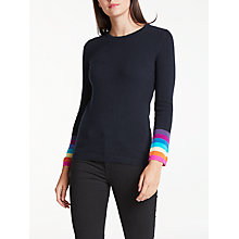 Buy Wyse London Ines Rainbow Cuff Cashmere Jumper, Navy Online at johnlewis.com