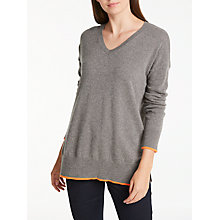 Buy Wyse London Olive V-Neck Cashmere Jumper, Mink Online at johnlewis.com