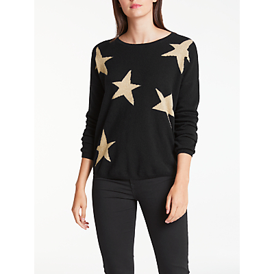 Wyse London Maddy Large Star Slouchy Cashmere Jumper, Black/Gold