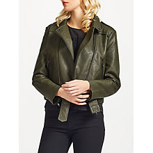 Buy Great Plains Hayden Biker Jacket, Spruce Green Online at johnlewis.com