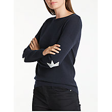 Buy Wyse London Juliet Metallic Star Slouchy Cashmere Jumper, Navy/Silver Online at johnlewis.com