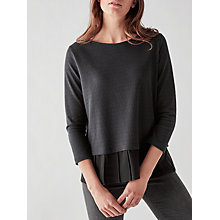 Buy Great Plains Ripple Pleat Hem Textured Jersey, Black Online at johnlewis.com