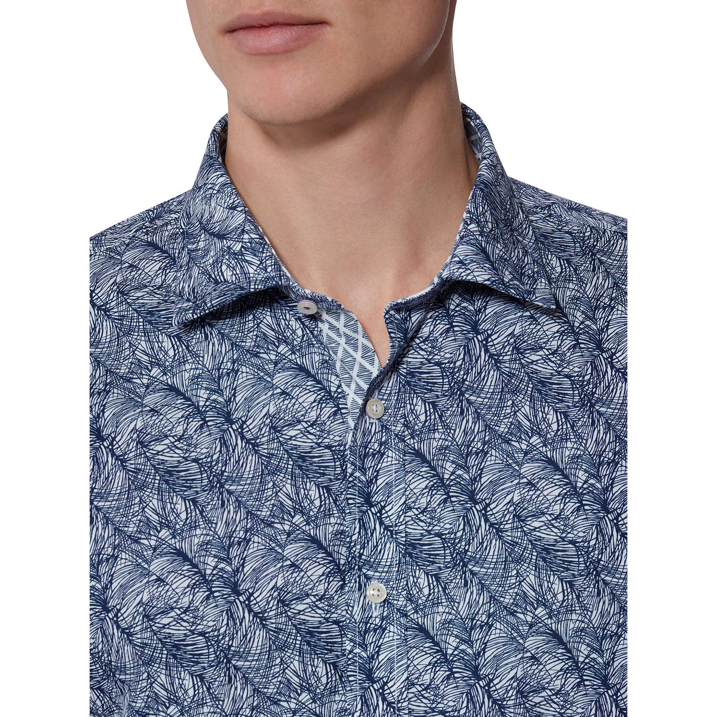 BuyTed Baker Messera Print Tailored Fit Shirt, Navy, 15 Online at johnlewis.com