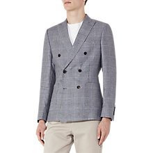 Buy Reiss Windsor Prince of Wales Check Wool Linen Double Breasted Blazer, Blue Online at johnlewis.com