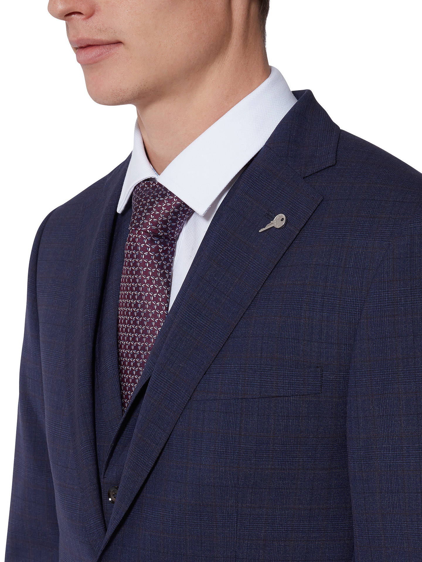 BuyTed Baker Vienaj Check Tailored Suit Jacket, Blue, 38S Online at johnlewis.com