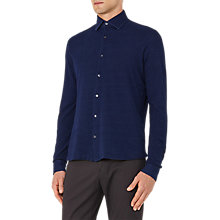 Buy Reiss Donny Pique Cotton Shirt, Indigo Online at johnlewis.com