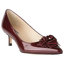 Buy L.K. Bennett Portia Flower Pointed Toe Court Shoes, Oxblood Online at johnlewis.com