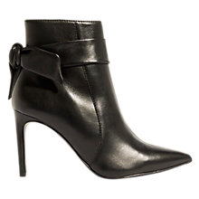 Buy Karen Millen The Essentials Tie Detail Stiletto Heeled Ankle Boots, Black Online at johnlewis.com