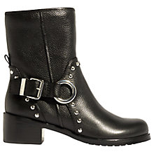 Buy Karen Millen Embellished Block Heeled Biker Boots, Black Online at johnlewis.com