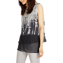 Buy Phase Eight Martyna Print Silk Blouse, Gunmetal Online at johnlewis.com