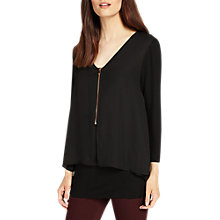 Buy Phase Eight Lenia Zip Blouse, Black Online at johnlewis.com