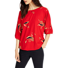 Buy Phase Eight Meredith Blouson Top, Red Online at johnlewis.com
