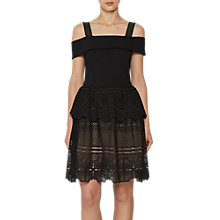 Buy French Connection Amlia Lace Jersey Off the Shoulder Dress, Black Online at johnlewis.com