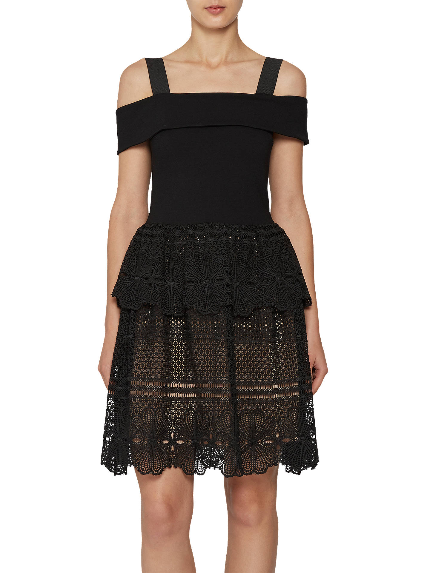 87f78b19144 Buy French Connection Amlia Lace Jersey Off the Shoulder Dress, Black, 6  Online at ...