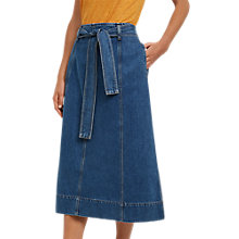 Buy Jaeger Belted Denim A-Line Skirt, Mid Blue Online at johnlewis.com