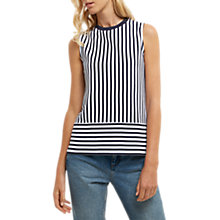 Buy Jaeger Cotton Pique Stripe Jersey Top, White/Navy Online at johnlewis.com