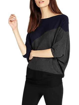 Phase Eight Becca Diagonal Block Jumper, Navy/Multi