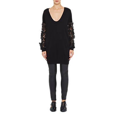 Product photo of French connection manzoni sparkle lace sleeve jumper dress black