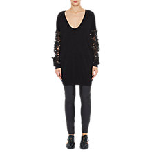 Buy French Connection Manzoni Sparkle Lace Sleeve Jumper Dress, Black Online at johnlewis.com