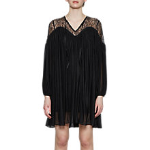 Buy French Connection Lassia Lace Detail Tie Neck Dress, Black Online at johnlewis.com