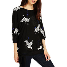 Buy Phase Eight Oda Oriental Bird Knit Jumper, Black/Multi Online at johnlewis.com
