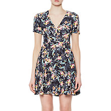 Buy French Connection Delphine Crepe Mix V-Neck Dress, Black/Multi Online at johnlewis.com