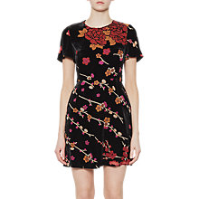 Buy French Connection Wilma Velvet Devore Short Sleeve Dress, Black/Multi Online at johnlewis.com
