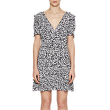 Buy French Connection Agnes Printed Draped Dress, Black/White Online at johnlewis.com