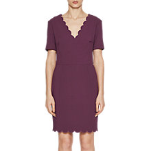 Buy French Connection Whisper V Neck Dress, Deepest Purple Online at johnlewis.com
