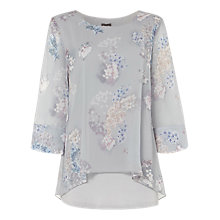 Buy Phase Eight Shila Floral Blouse, Silvery Grey Online at johnlewis.com
