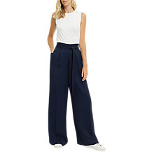 Buy Jaeger Tie-Waist Wide-Leg Trousers, Navy Online at johnlewis.com