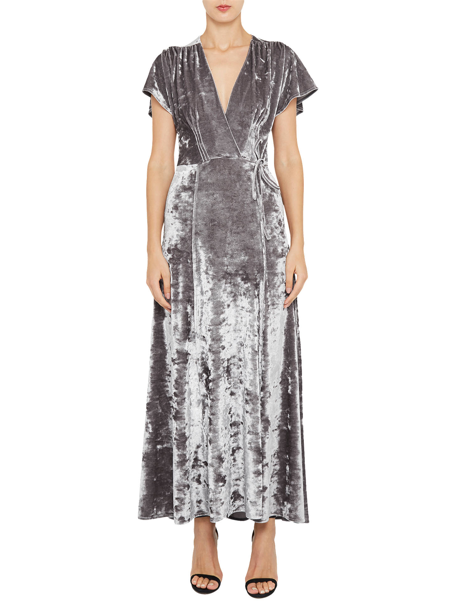3561f59581ab4 Buy French Connection Aurore Velvet V-Neck Maxi Dress, Smokey, 6 Online at  ...