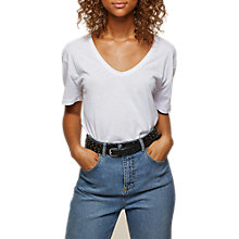 Buy Miss Selfridge Longline Scoop T-Shirt, White Online at johnlewis.com
