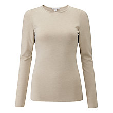 Buy Pure Collection Jersey Crew Neck Top, Neutral Marl Online at johnlewis.com