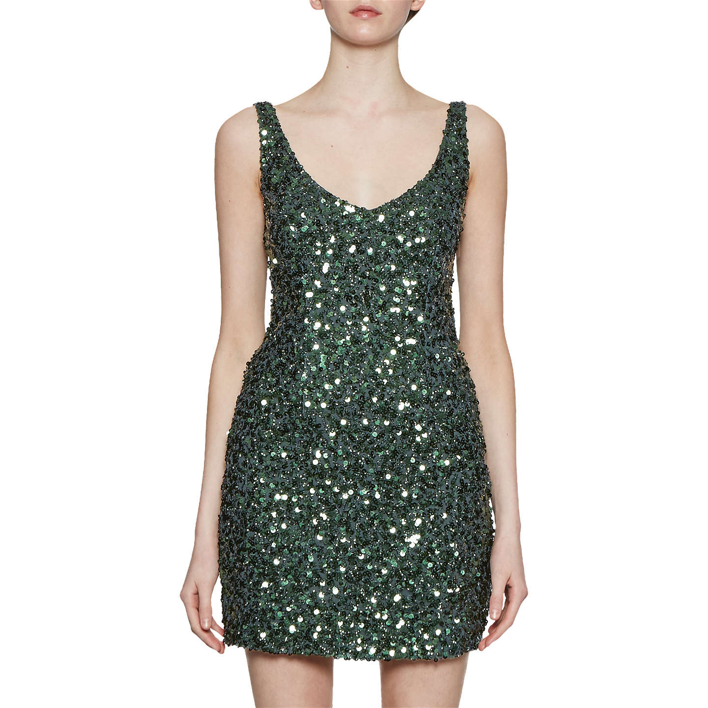 BuyFrench Connection Helen Sparkle Strappy Dress, Ink Green, 12 Online at  johnlewis.com ...