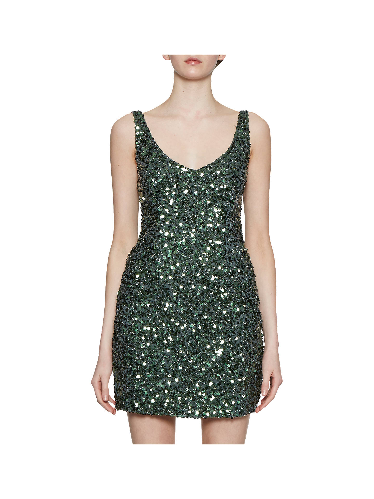 315227c1d6aa Buy French Connection Helen Sparkle Strappy Dress, Ink Green, 6 Online at  johnlewis.