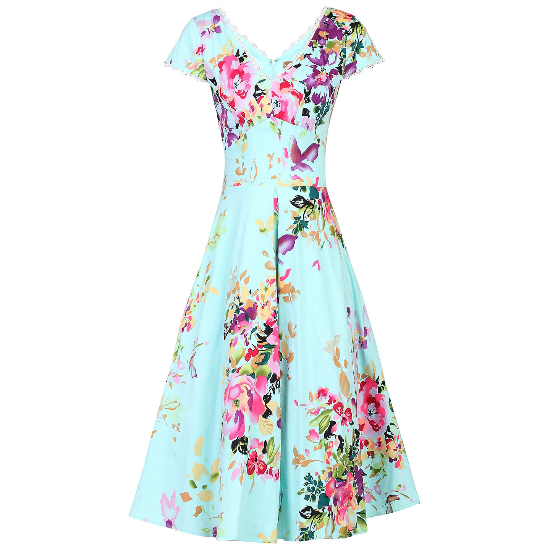 Jolie Moi Floral Print Dress, Green/Multi at John Lewis