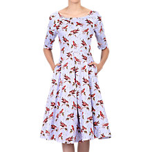 Buy Jolie Moi Floral Print Half Sleeve Dress, Lavender Online at johnlewis.com