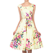 Buy Jolie Moi Floral Print Scoop Neck Swing Dress, Yellow Online at johnlewis.com