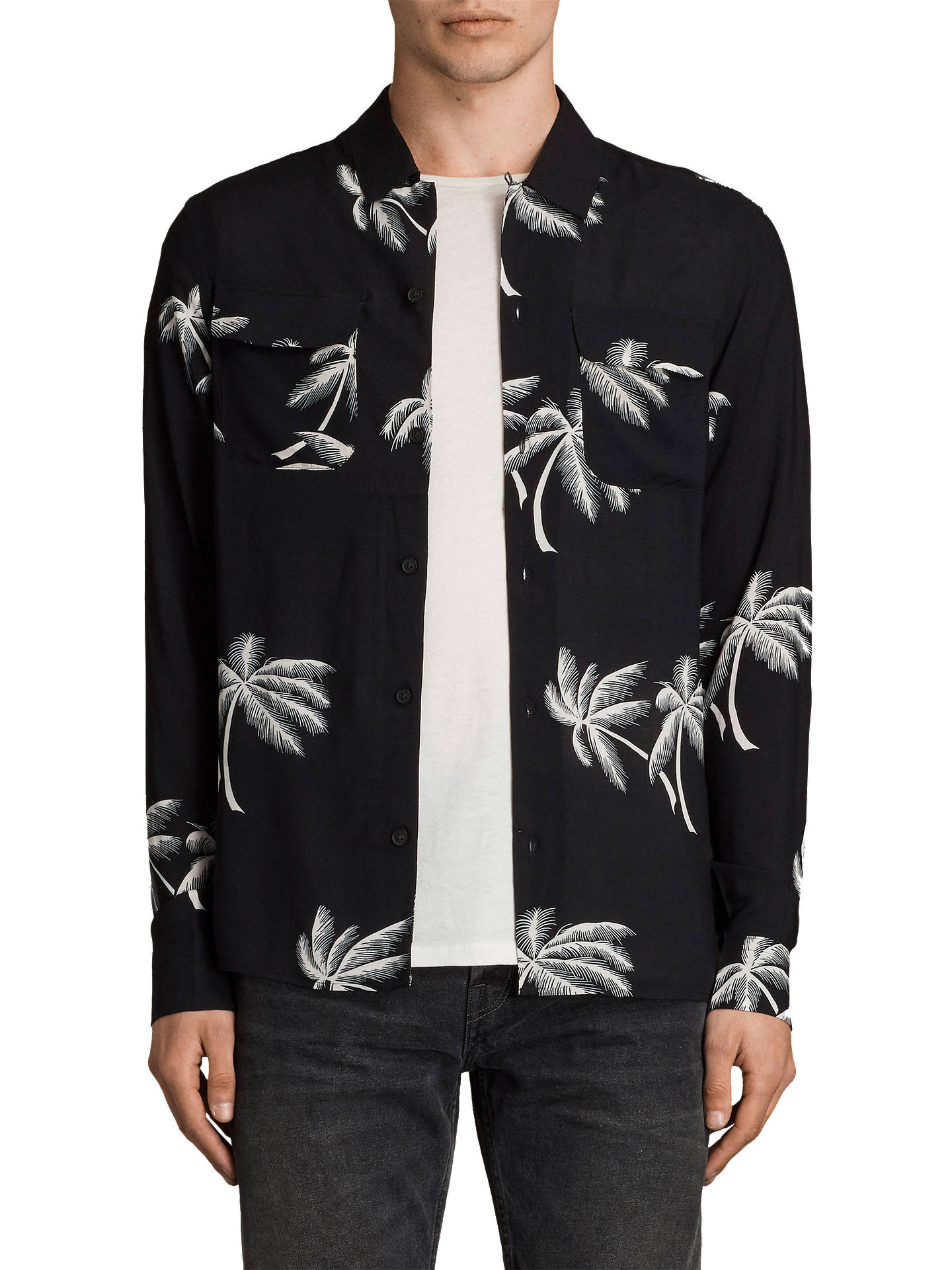 5e19af8d Buy AllSaints Offshore Long Sleeve Shirt, Black, XS Online at johnlewis.com  ...