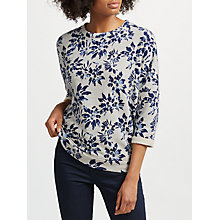 Buy Collection WEEKEND by John Lewis Japanese Floral Print Top, Grey/Navy Online at johnlewis.com