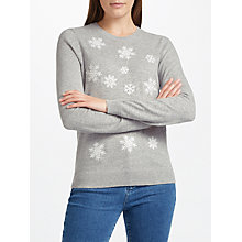 Buy Collection WEEKEND by John Lewis Embroidered Snowflake Knit Jumper, Grey/White Online at johnlewis.com