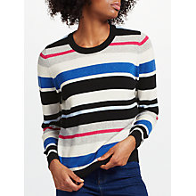 Buy Collection WEEKEND by John Lewis Cashmere Striped Crew Neck Jumper, Multi Online at johnlewis.com
